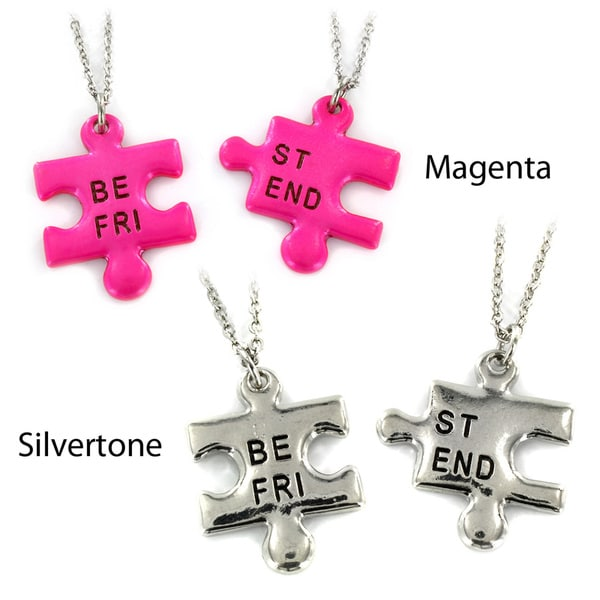West Coast Jewelry Silvertone/ Magenta 'Best Friend' Puzzle Piece 2-piece Necklace Set