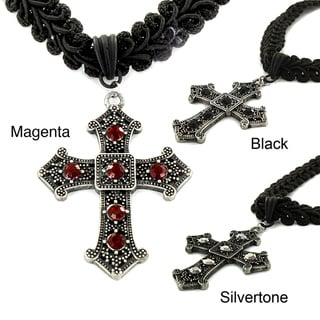 West Coast Jewelry Silvertone and Black Fabric Resin Cross Choker Necklace
