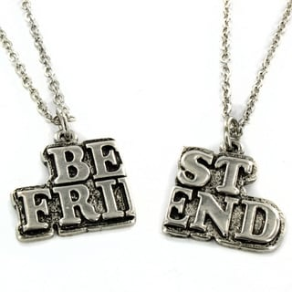 West Coast Jewelry Silvertone 'Best Friend' 2-piece Necklace Set