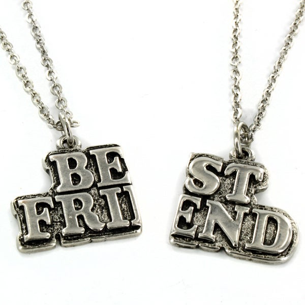 West Coast Jewelry Silvertone 'Best Friend' 2-piece Necklace Set
