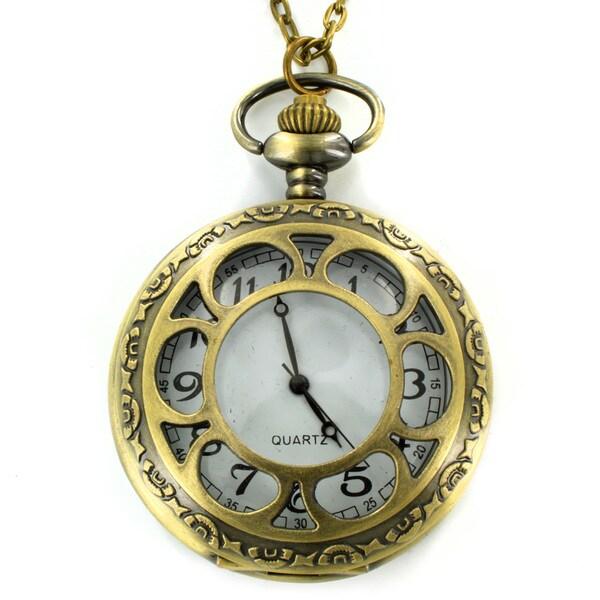 West Coast Jewelry Antiqued Bronzetone Flower Design Clock Necklace