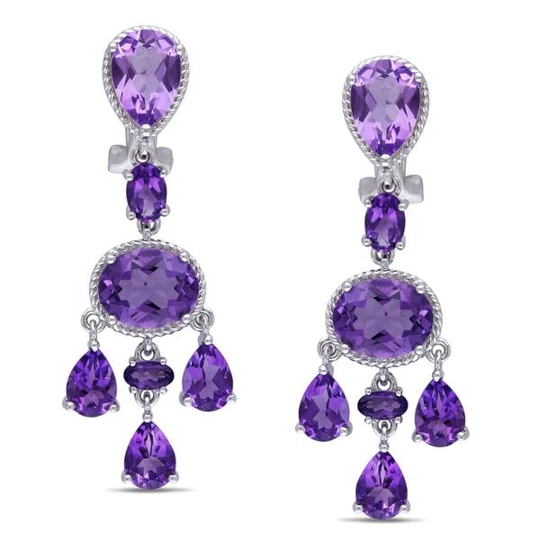 Miadora Sterling Silver Amethyst Dangle Earrings