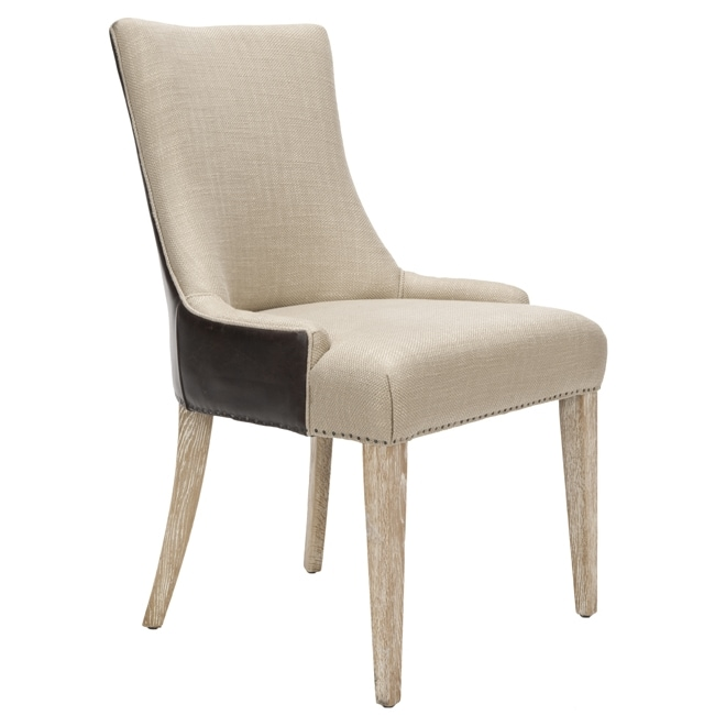 Safavieh 'Becca' Beige Fabric Leather-back Dining Chair