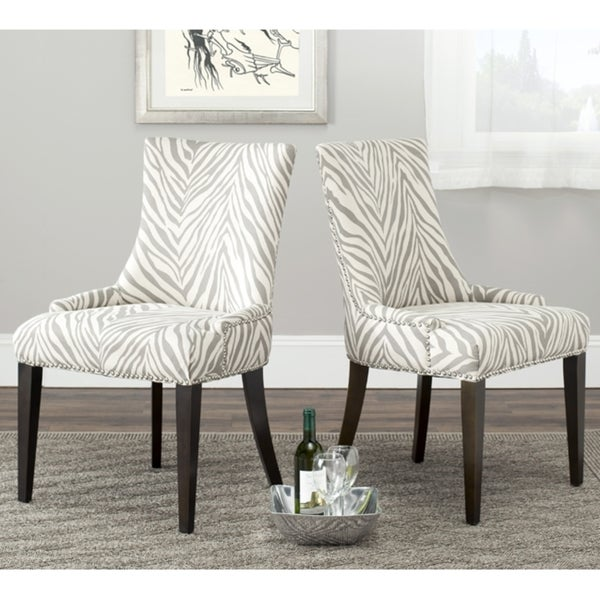Safavieh En Vogue Dining Becca Zebra Grey Side Chair