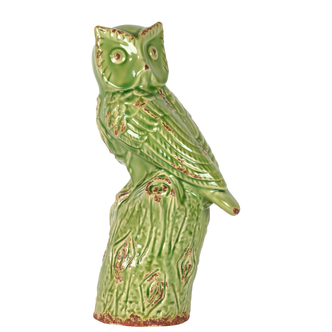 Decorative Green Ceramic Owl