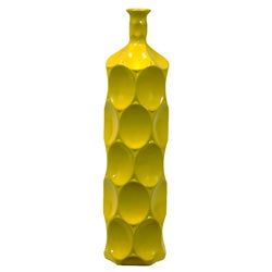 Large Yellow Ceramic Bottle
