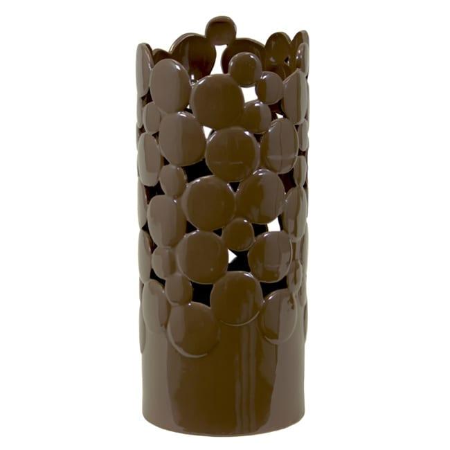 Large Brown Cut Design Ceramic Vase