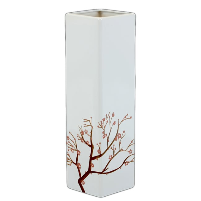 Urban Trend White Ceramic Vase with Blooming Branches Accents