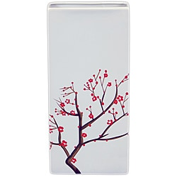 Decorative Ceramic Vase with Blooming Branches White