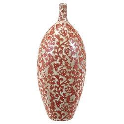 Urban Trend Collection Large Red Filigree Ceramic Vase