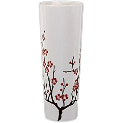 White with Cherry Blossom Accent 18-inch Ceramic Vase