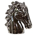 Urban Trend Silver Horse Head Ceramic Sculpture