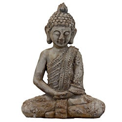 Urban Trend Antique Finish Sitting Buddha Cement Sculpture