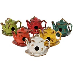 Urban Trend Assortment Tea Pot Bird Feeder Ceramic Garden Accent (Pack of 6)