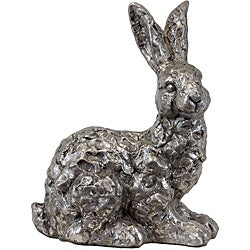 Urban Trend Silver Rabbit Ceramic Garden Accent