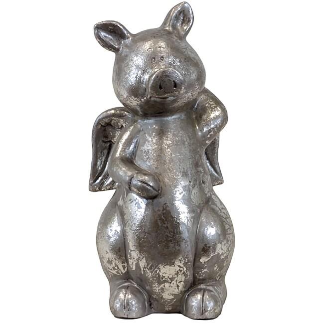 Urban Trend Silver Pig Ceramic Garden Accent