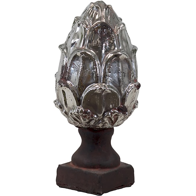 Ceramic Artichoke Antique Silver Small