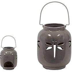 Grey Ceramic Dragonfly Lantern