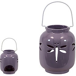 Purple Ceramic Dragonfly Lantern
