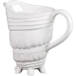 Urban Trends Collection White Ceramic Seashell Pitcher
