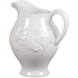 Ceramic Seashell Pitcher White