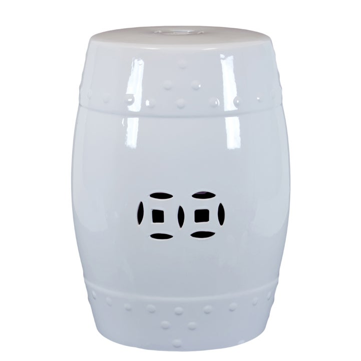 Ceramic Garden Stool White