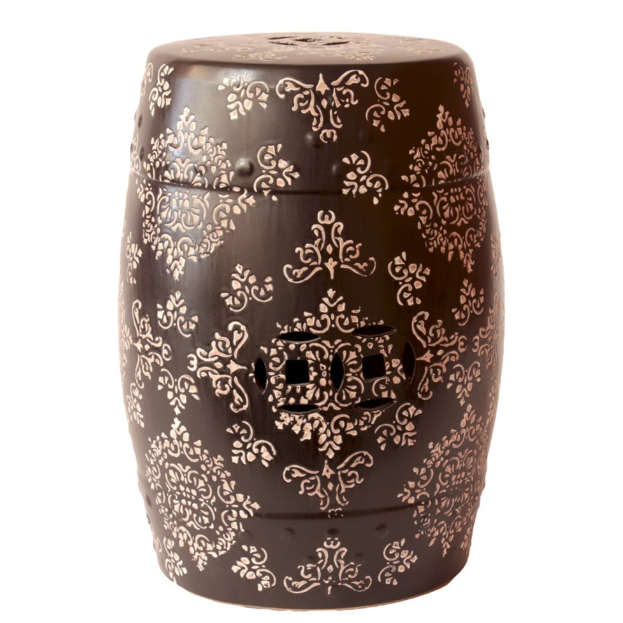Ceramic Garden Stool Black And White 14505599