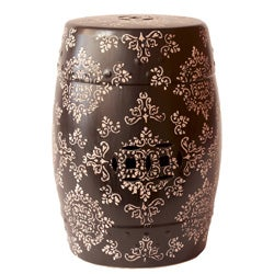Ceramic Garden Stool Black and White