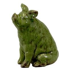 Green Ceramic Pig Figurine