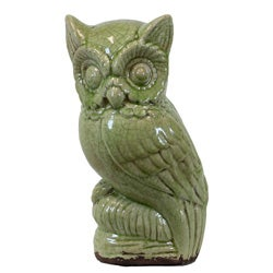 Accent Green Ceramic Owl