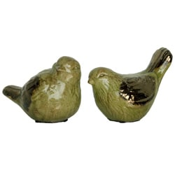 Green Ceramic Bird Green (Set of 2)