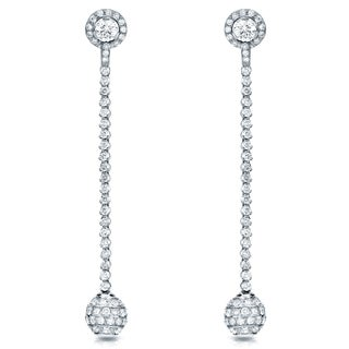 Auriya  18k White Gold 7ct TDW Diamond Dangle Ball Drop Earrings (F-G, SI1-SI2)