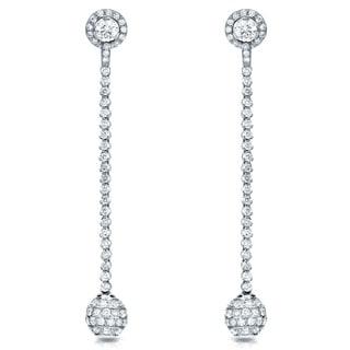 Auriya 18k White Gold 7ct TDW Diamond Dangle Ball Drop Earrings (F-G, SI1-SI2)