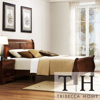 Tribecca Home Milford Louis Phillip Warm Brown Queen-size Sleigh Bed