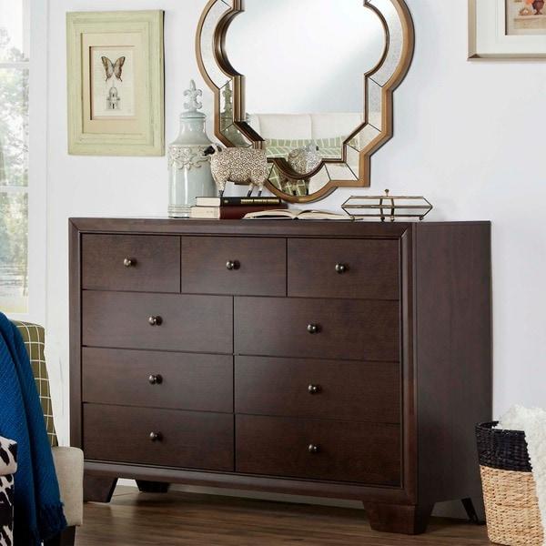TRIBECCA HOME Louisburgh Dark Merlot 9-drawer Dresser