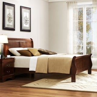 Tribecca Home Milford Louis Phillip Warm Brown Traditional King-size Sleigh Bed