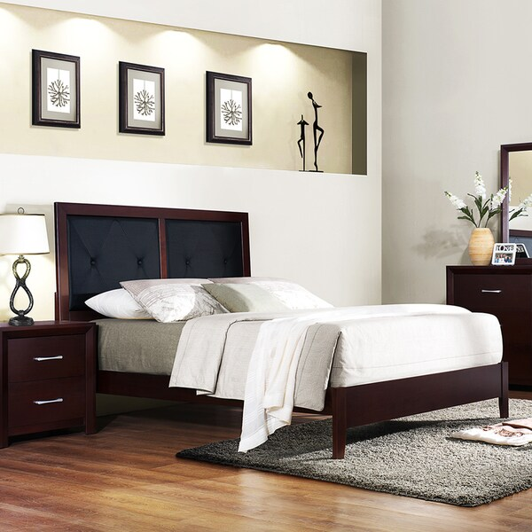 TRIBECCA HOME Jenkins Espresso Faux Leather Button Tufted Queen-size Bed