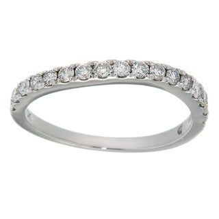 D'sire 10k White Gold 4/9ct TDW Diamond Curved Wedding Ring (H-I, I2-I3)