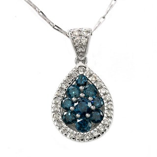 Beverly Hills Charm  14k White Gold 1ct TDW Diamond Teardrop Necklace (H-I, I1)