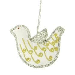 Handcrafted Embroidered Dove Ornament (India)