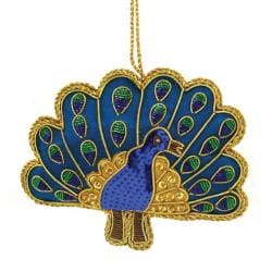 Hand-crafted Embroidered and Sequined Peacock Ornament Made in India