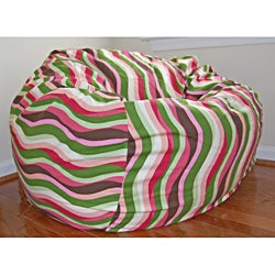 36-Inch Wide Wavelength Guava Cotton Washable Bean Bag Chair