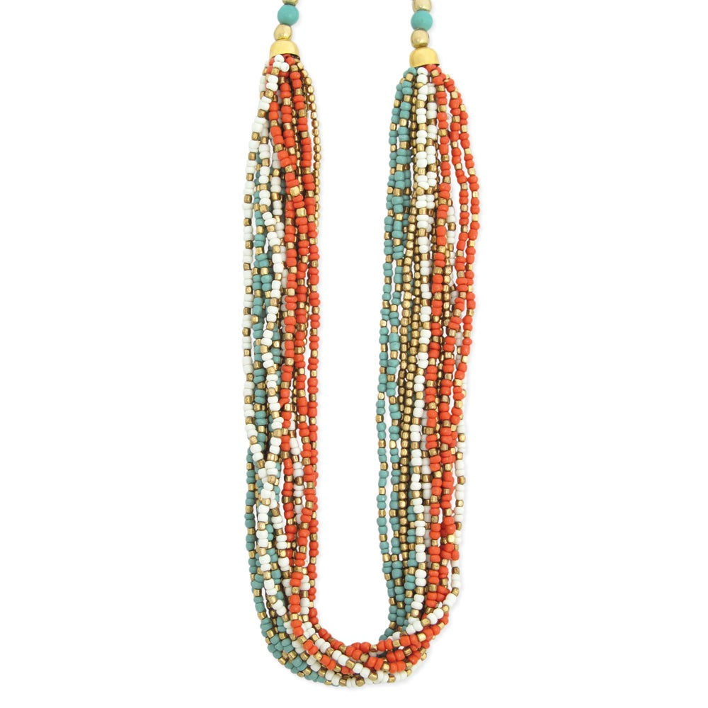 Handcrafted Glass/ Goldtone Metal Bead Necklace (India)