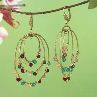 Handcrafted Large Multi-color Chandelier Earrings (India)