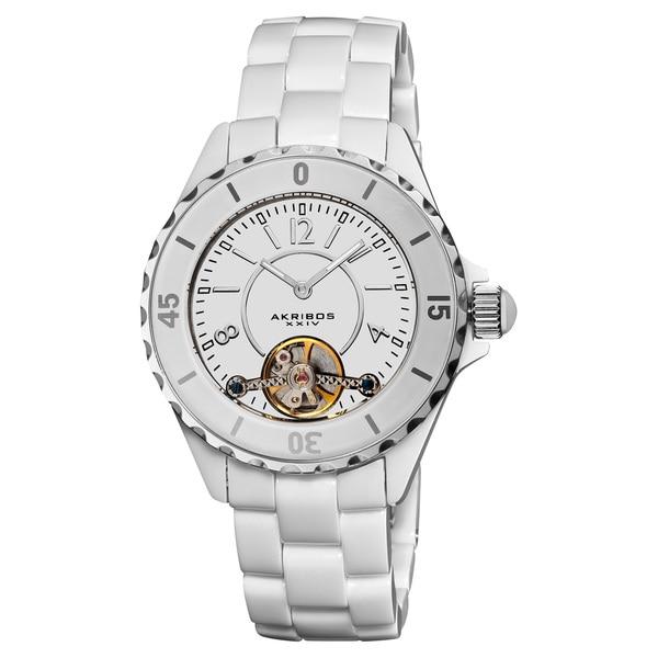 Akribos XXIV White Women's Oversized Ceramic Automatic Open Heart Watch