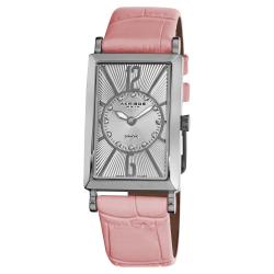 Akribos XXIV Women's Rectangular Stainless Steel Diamond Pink Leather Strap Watch