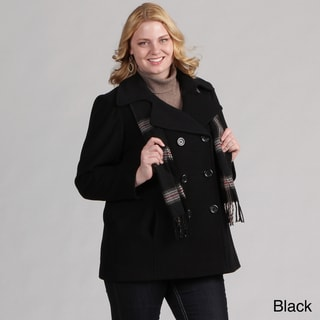 London Fog Women's Plus Double-breasted Wool Coat