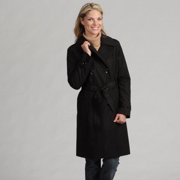 London Fog Women's Double-breasted Snakeskin Print Raincoat