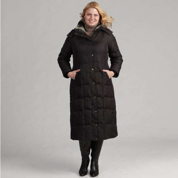 London Fog Women's Plus Size Long Down Coat