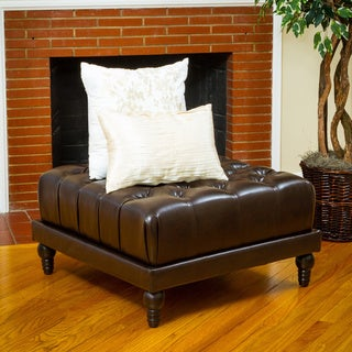 Darwin Tufted Brown Bonded Leather Ottoman